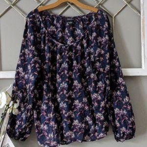 Lucky Brand navy / purple boho floral blouse Large